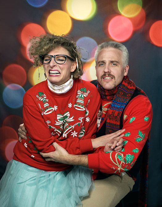 Cheesy Christmas sweaters.  Photography by John Keatley.  Ugly Christmas sweaters.