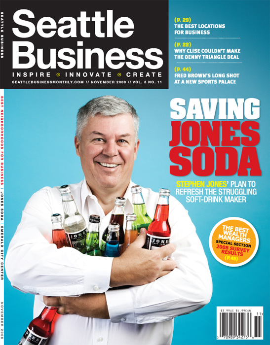 Jones Soda CEO Stephen Jones.  Photo by John Keatley.  Cover photo for Seattle Business Monthly.