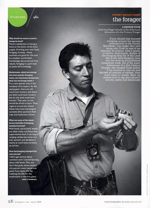 Tearsheet from Bon Appetit of Seattle based forager and writer, Langdon Cook.  Photography by John Keatley