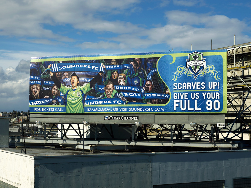 Seattle Sounders FC Billboard on the Ballard Bridge