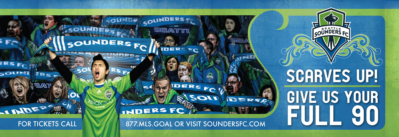 Seattle Sounders FC billboard.  Photography by John Kealtey