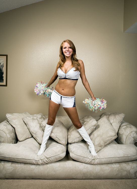 Seattle Seahawks Seagals cheerleader Tessa.  Photographed in her home by John Keatley.
