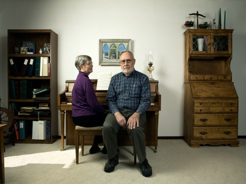 Portrait of a retired university professor and his wife.  Photo by John Keatley.