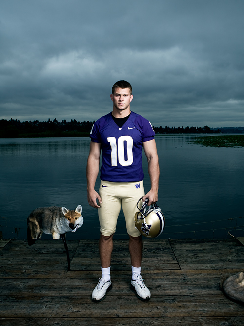 Jake Locker, UW quarterback.  Photo by John Keatley.