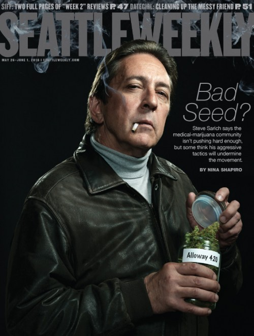 Medical marijuana leader Steve Sarich on the cover of Seattle Weekly.  Photo by photographer John Keatley