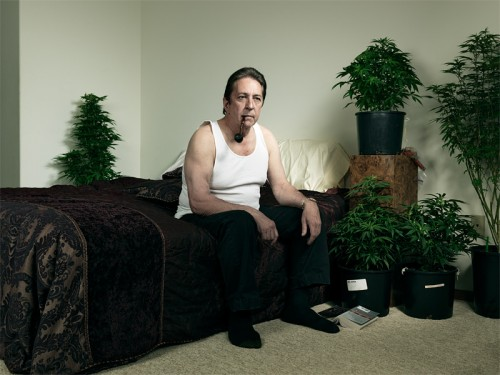 Medical marijuana grower Steve Sarich in his bedroom.  Photo by John Keatley.