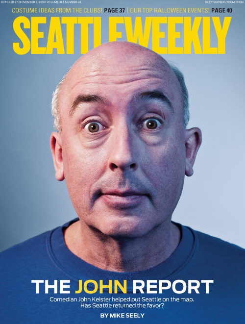Portrait of comedian and actor John Keister from Almost Live for the Seattle Weekly cover.  Photo by Seattle based photographer John Keatley.