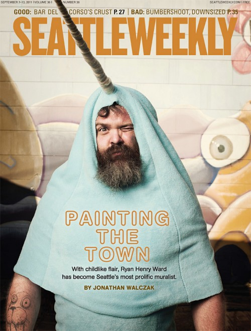 Mural painter Henry photographed by John Keatley for the cover of Seattle Weekly.