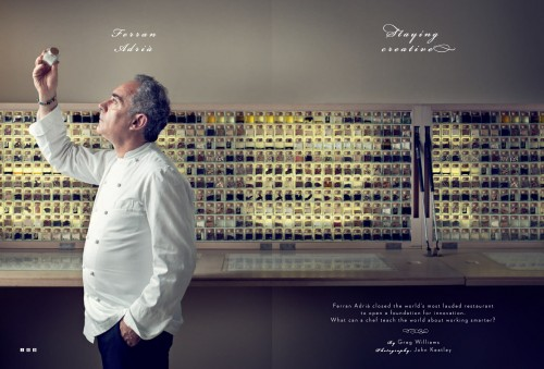 Wired UK opening spread on Ferran Adria.  Photo by John Keatley.