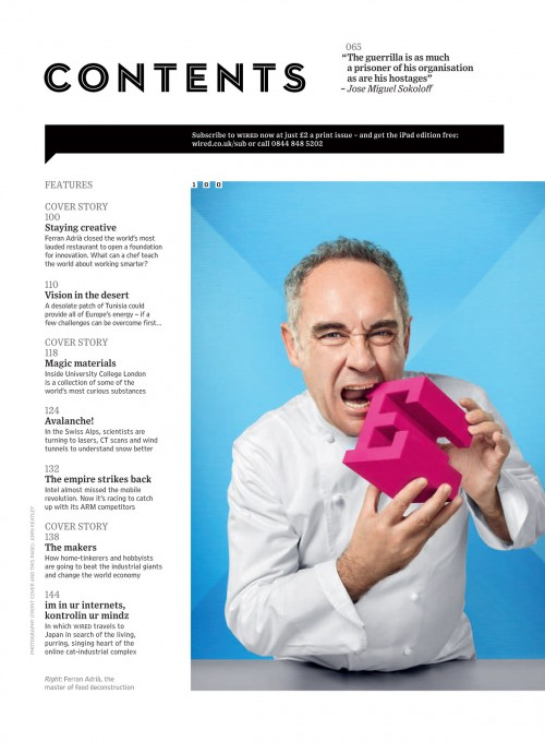 Wired UK table of contents.  Ferran Adria by John Keatley