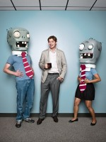 PopCap CEO joking with zombies from Plants vs. Zombies