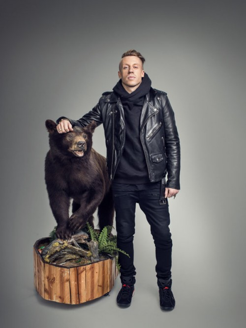 Macklemore and his brown bear by photographer John Keatley.