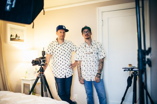 Keatley & Lonnie with matching palm tree shirts.