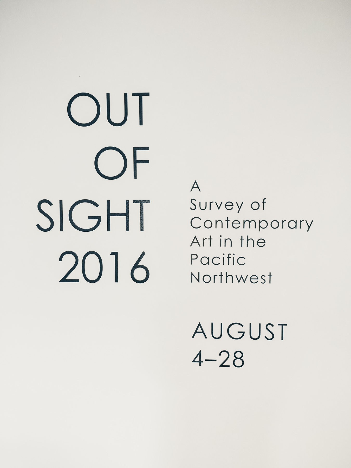 Out Of Sight 2016 gallery signage
